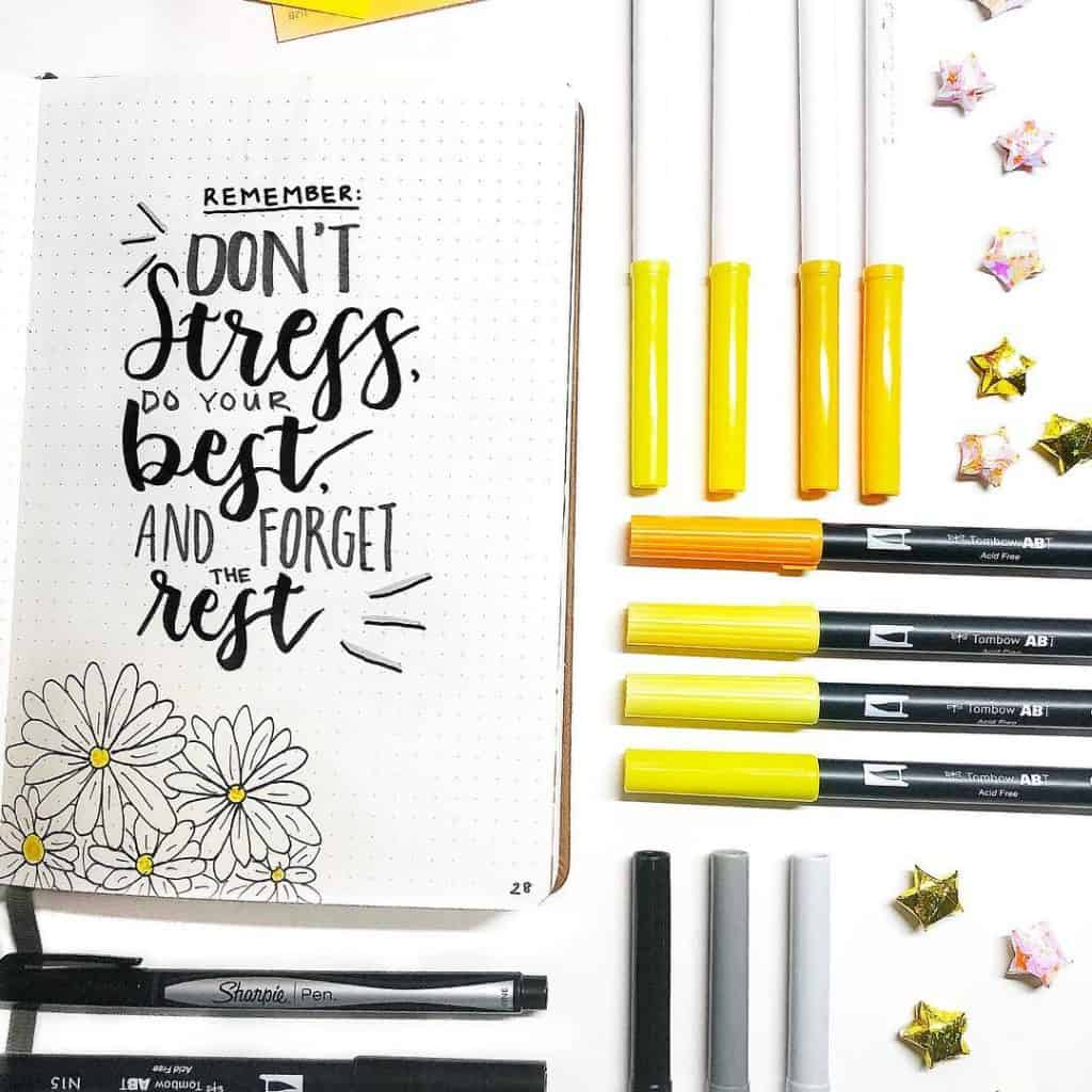 Yellow Bullet Journal Spreads and Layouts