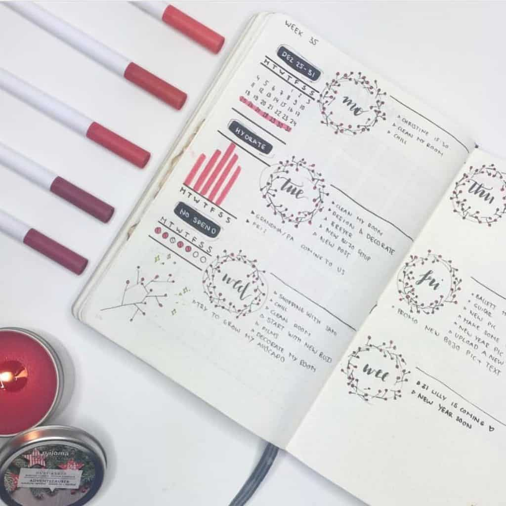 Red Bullet Journal Spreads and Layouts