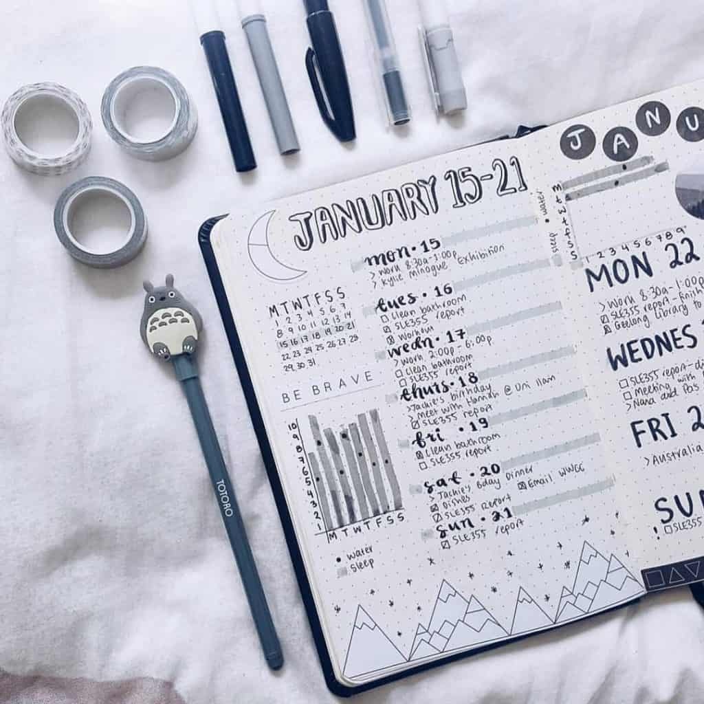 Black Bullet Journal Spread and Layout