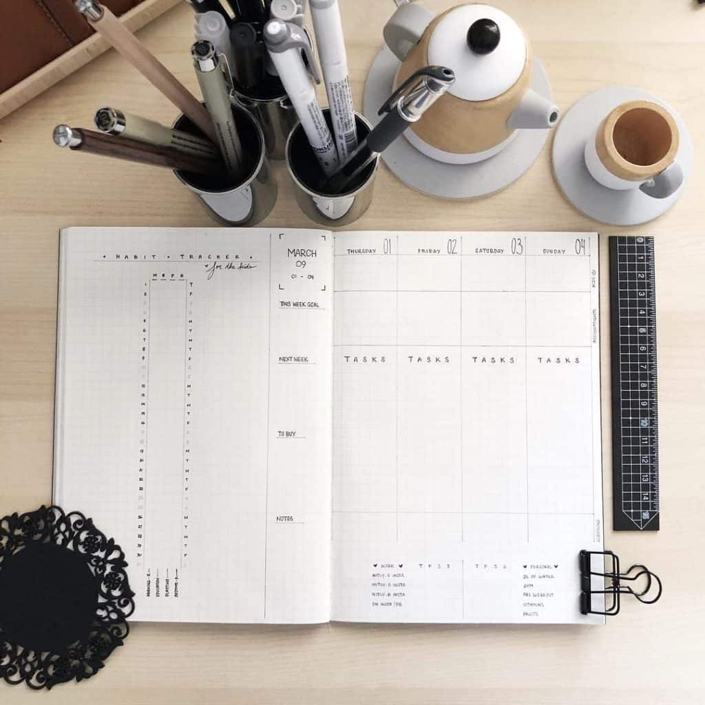 Minimal Bullet Journal Spreads and Layouts