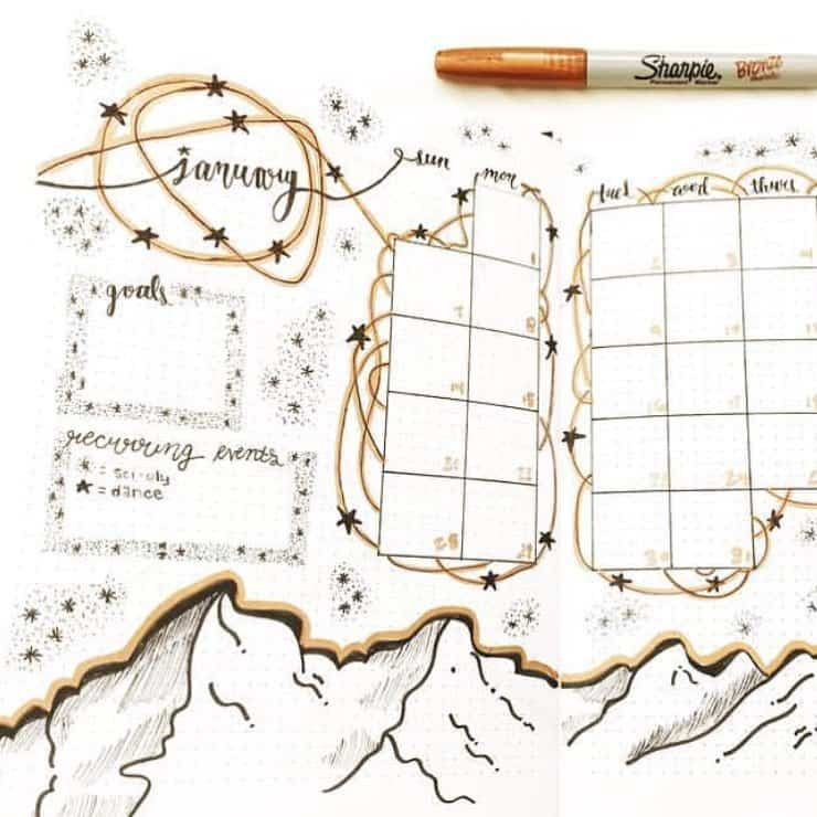Gold Inspired Bullet Journal and Spread