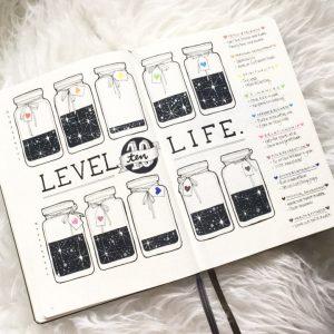 Level 10 life bullet journal spread idea