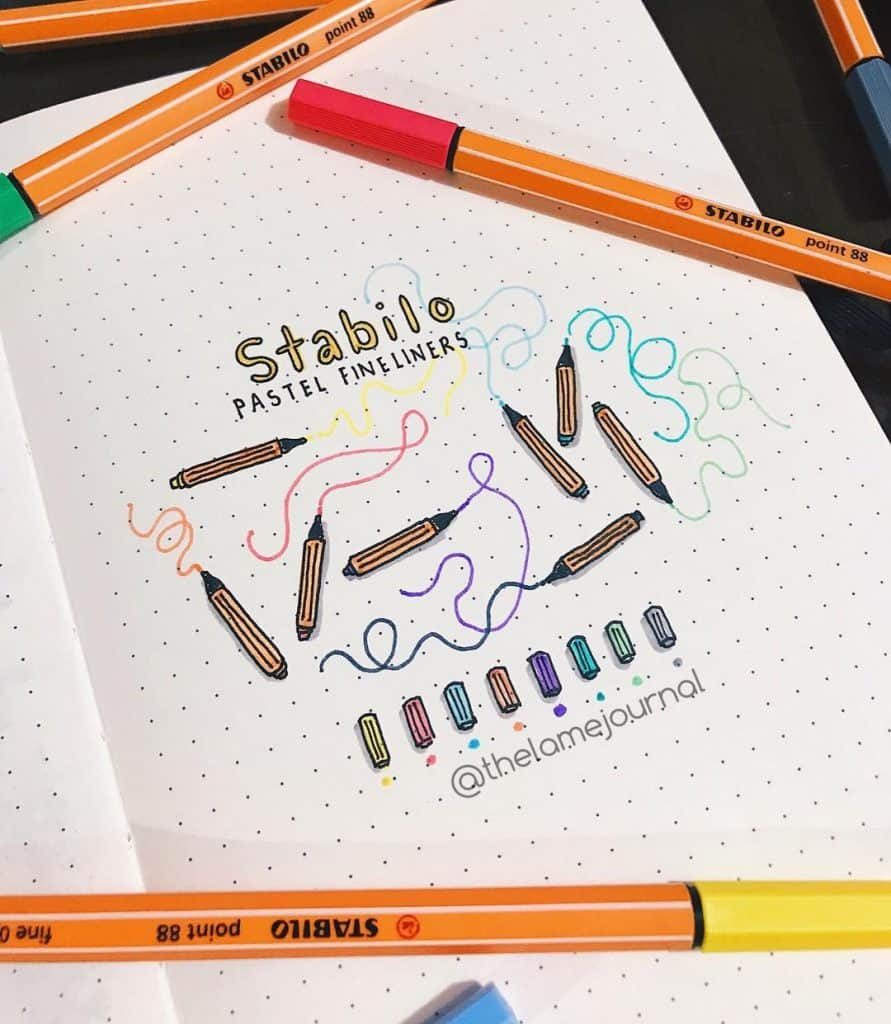 Bulet Journal Swatch Layout Ideas