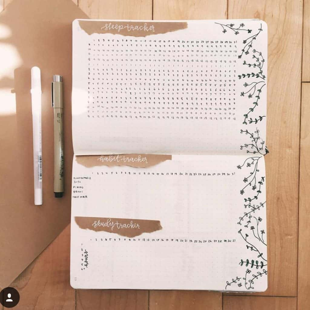 Brown Bullet Journal Layout and Spreads
