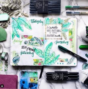 Invredible tropical bullet journal spread