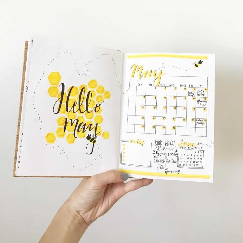 Bee bullet journal spread ideas