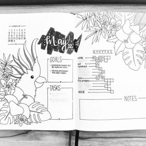 Invredible tropical bullet journal spread