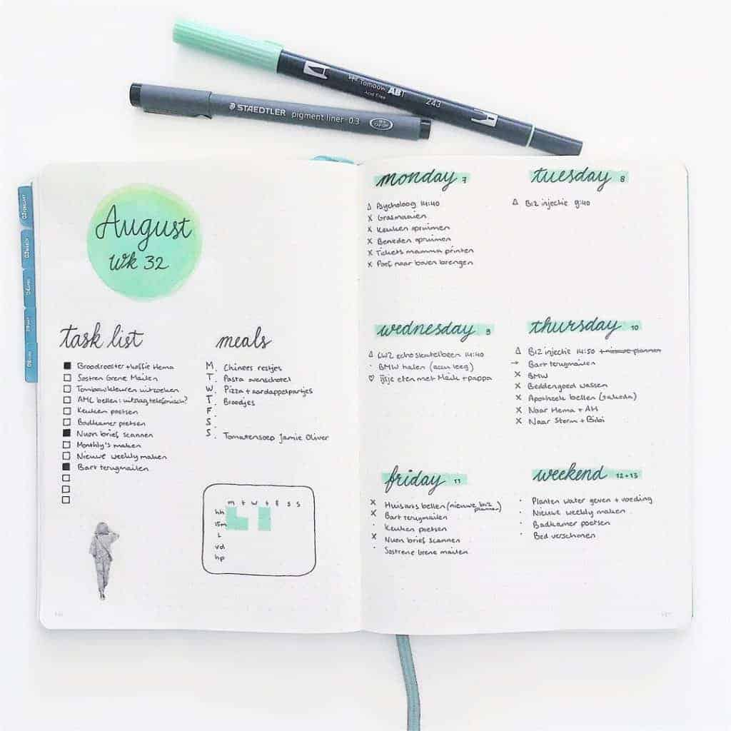 Best Mint Bullet Journal Spreads