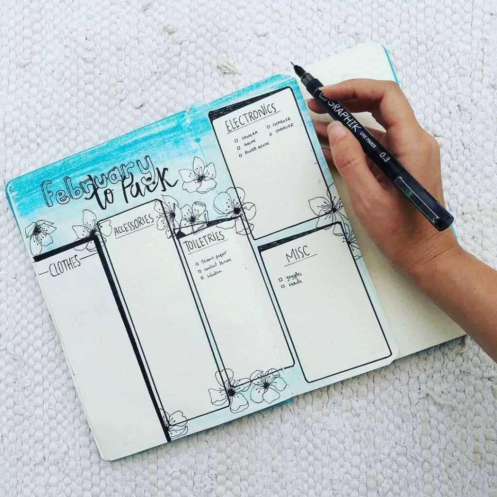 10 blue bullet journal spreads