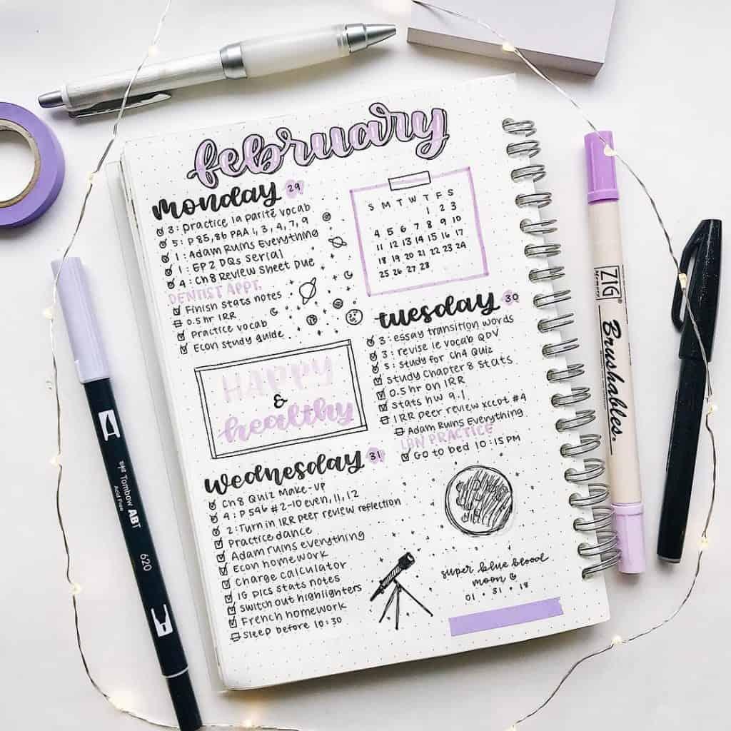 Purple bullet journal spread