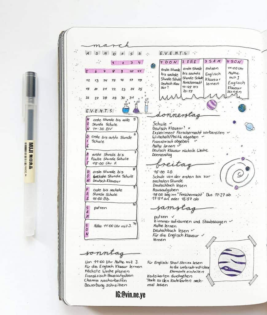 Purple bullet journal spread