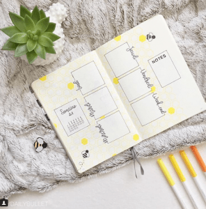 honey bullet journal spreads