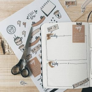 Delicious brown bullet journal spreads