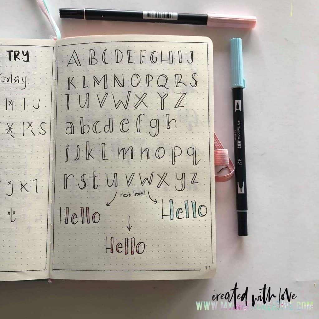 4 new lettering styles for your bullet journal  and free