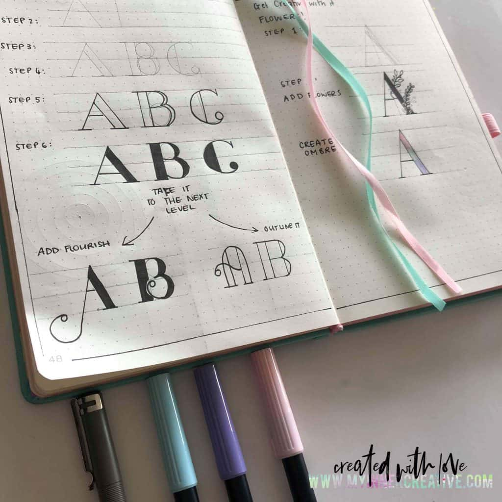 4 New Lettering Styles for your Bullet Journal and fonts practice sheets