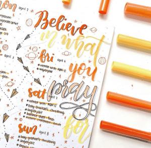 stunning orange bullet journal spreads