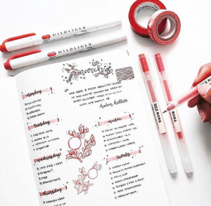 Epic red bullet journal spreads