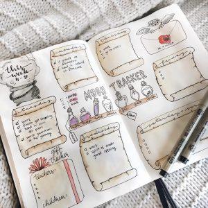 Spellbinding Harry potter bullet journal spread ideas