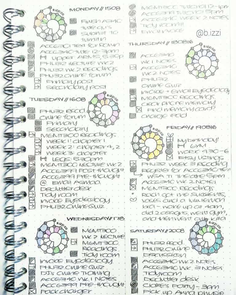 chronodex & spirodex bullet journal layout