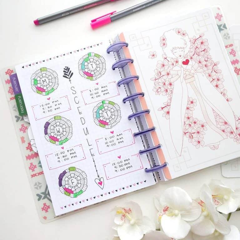 chronodex & spirodex bullet journal layout