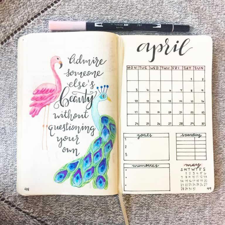 peacock inspired bullet journal spreads