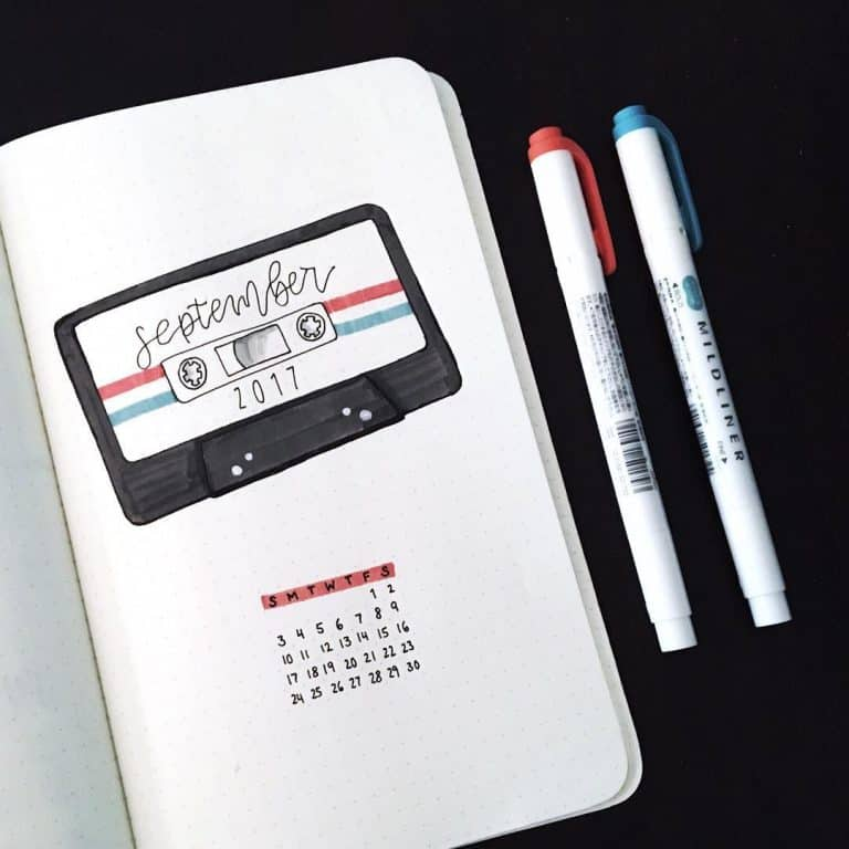 technology social media bullet journal spread layout idea