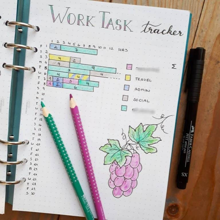 time tracker bullet journal template