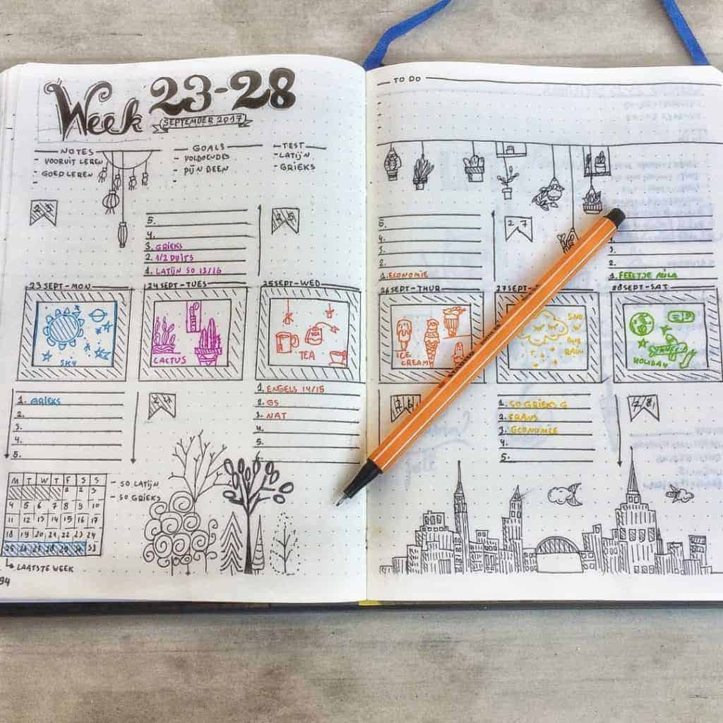 Rainbow Bullet Journal Spread Ideas