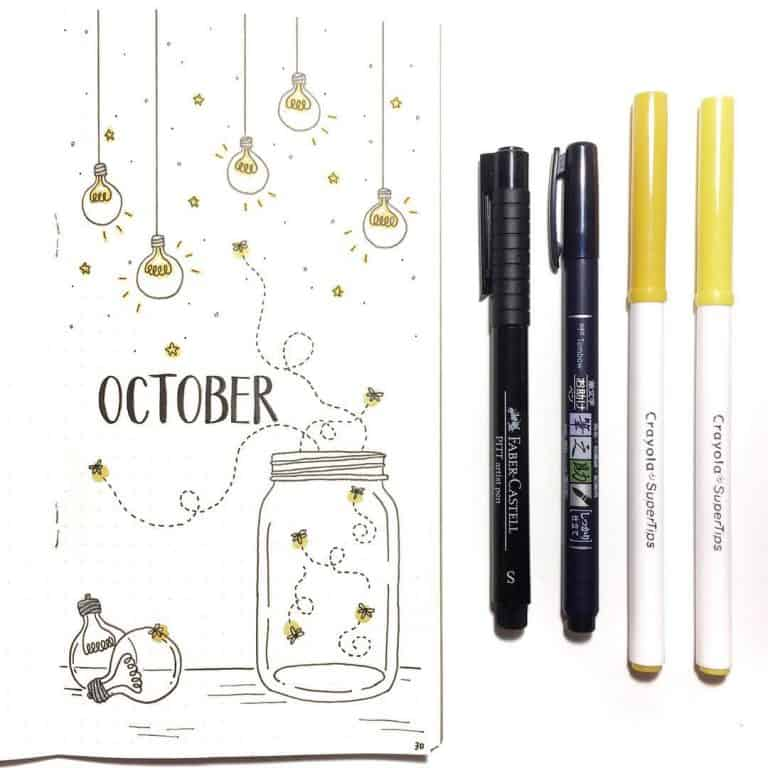 light bulb bullet journal layout idea