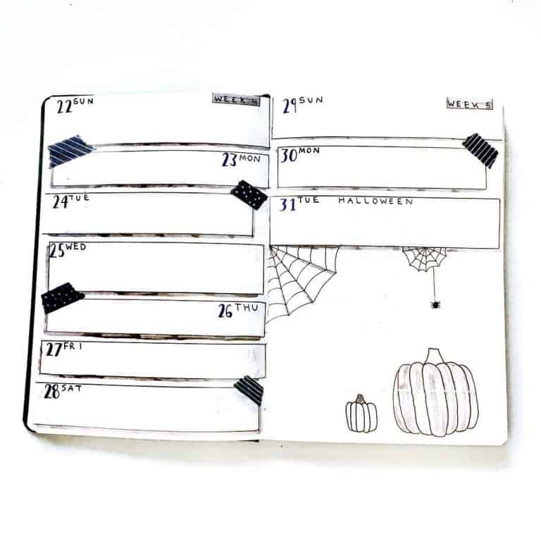 halloween bullet journal layout & spread