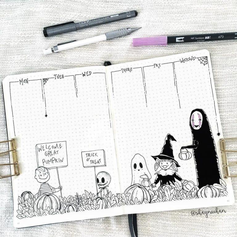halloween bullet journal layout & spread