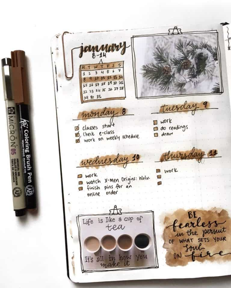 coffee bullet journal layout spread ideas