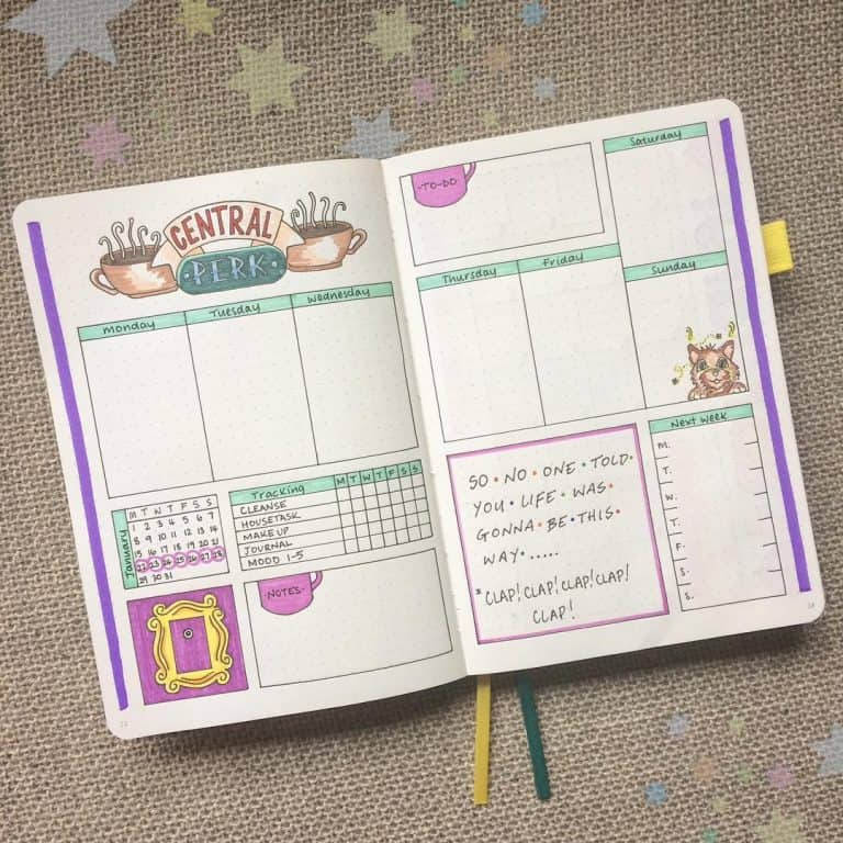 friends inspired bullet journal layout