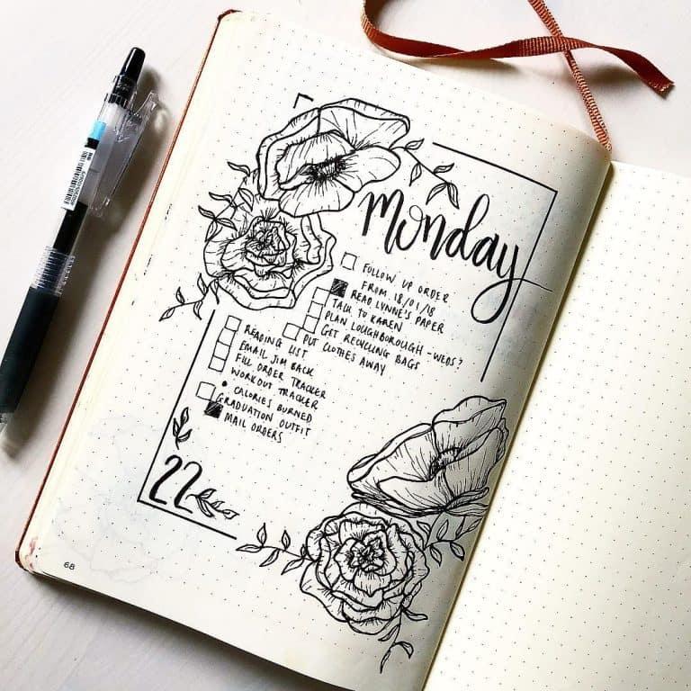 floral bullet journal spreads