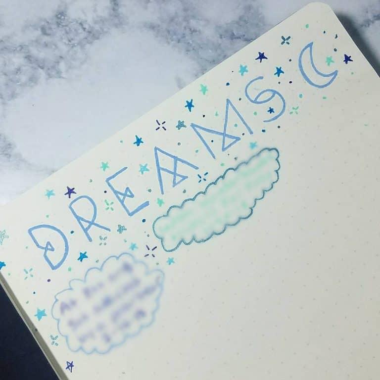 tracking dream in bullet journal