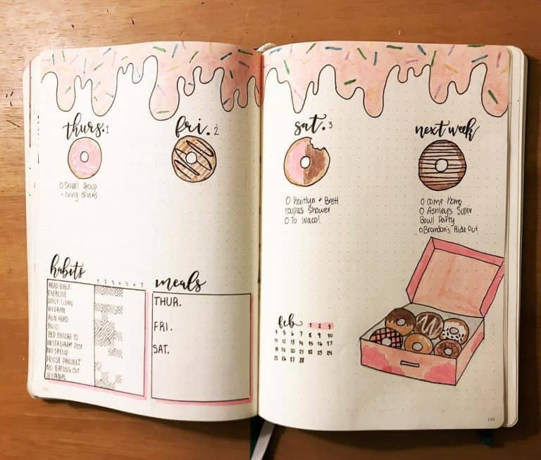 donut bullet journal layout & spread ideas