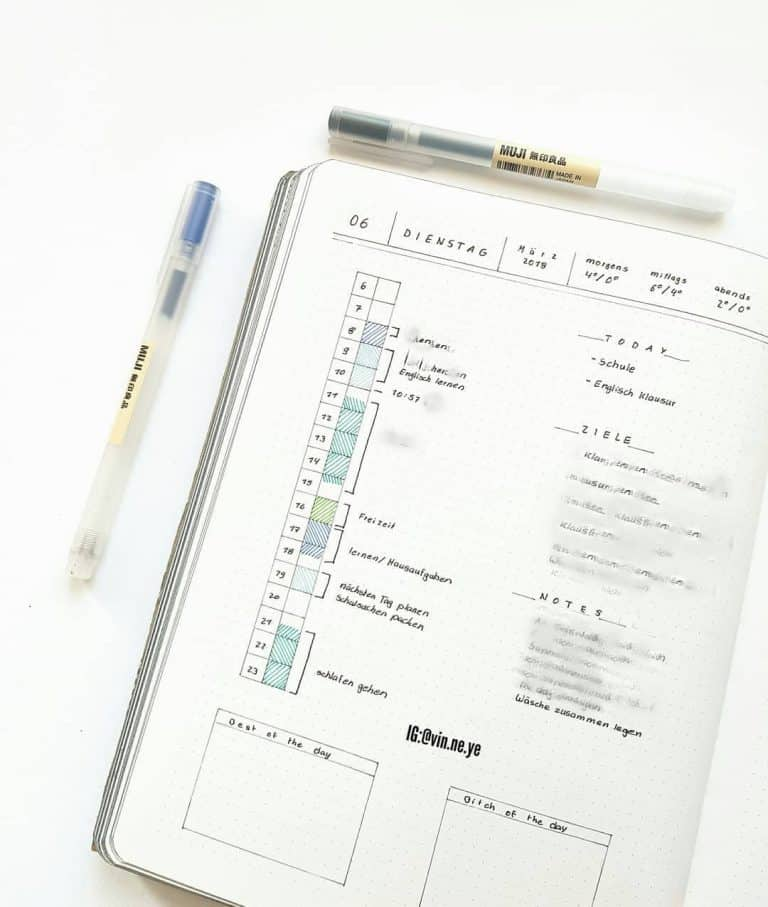 study timetable template bullet journal
