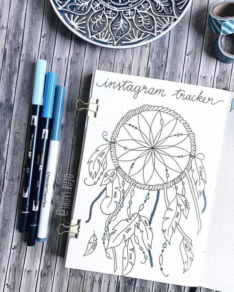 instagram tracker bullet journal spread layout