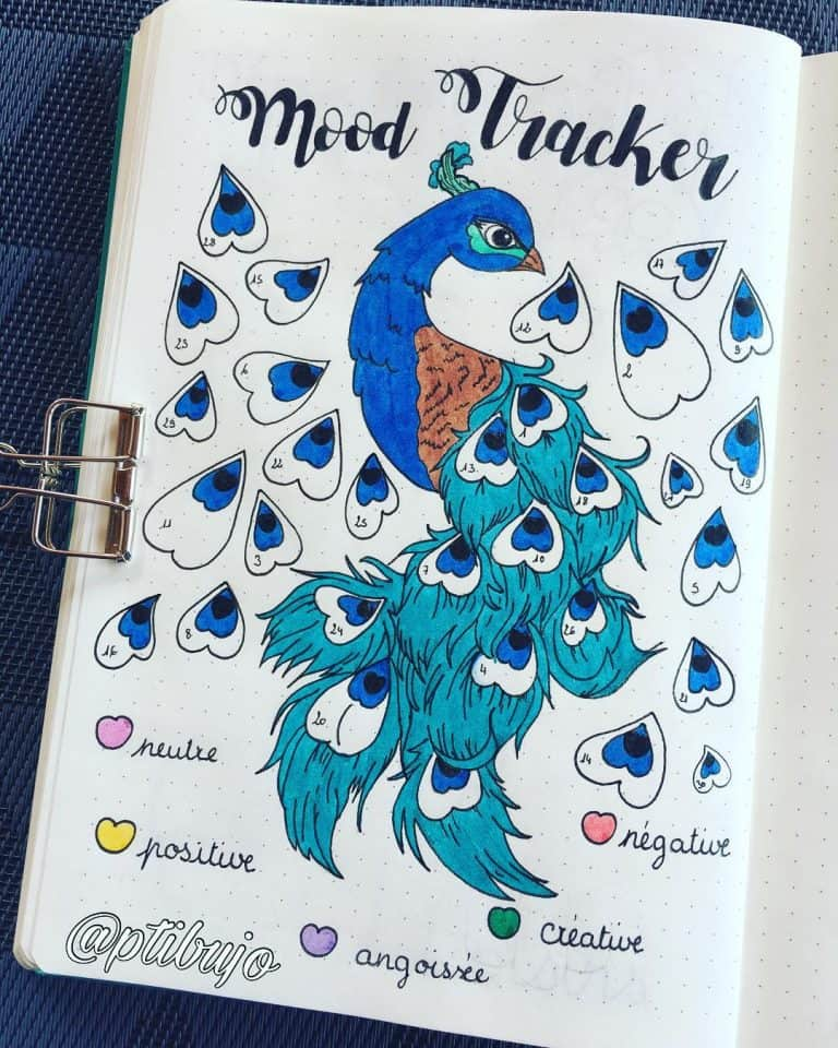 peacock inspired bullet journal spreads