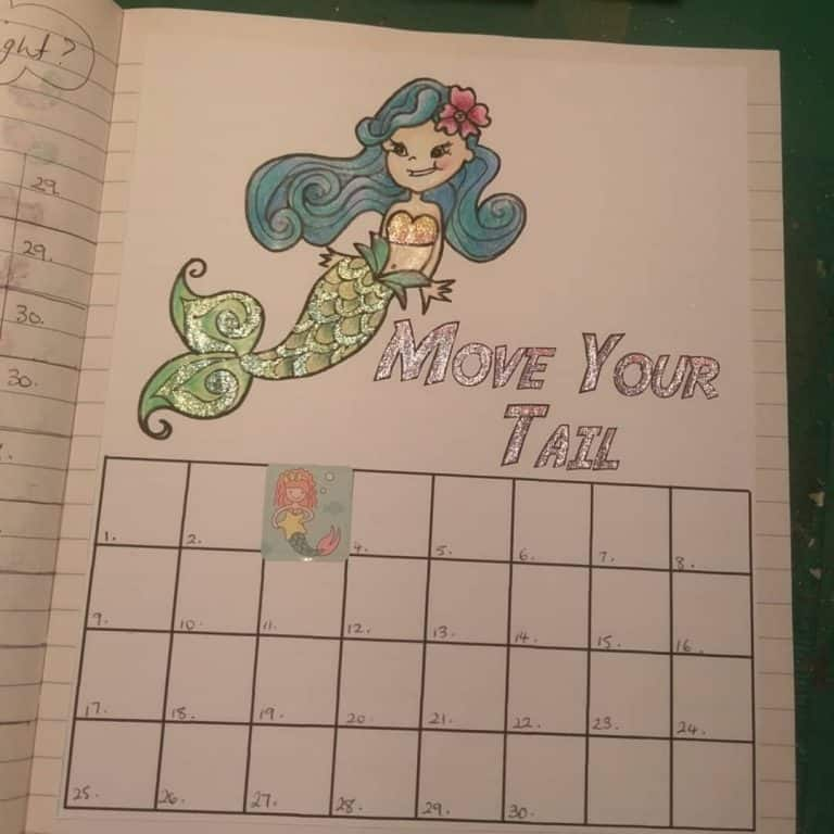 Mermaid inspired bullet journal spreads