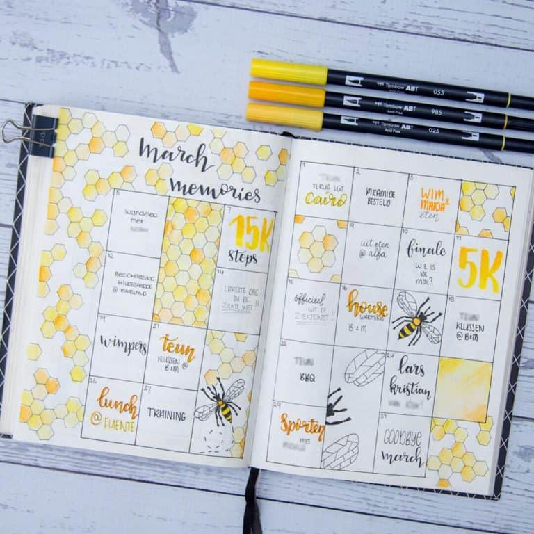 Memory spreads in your bullet journal