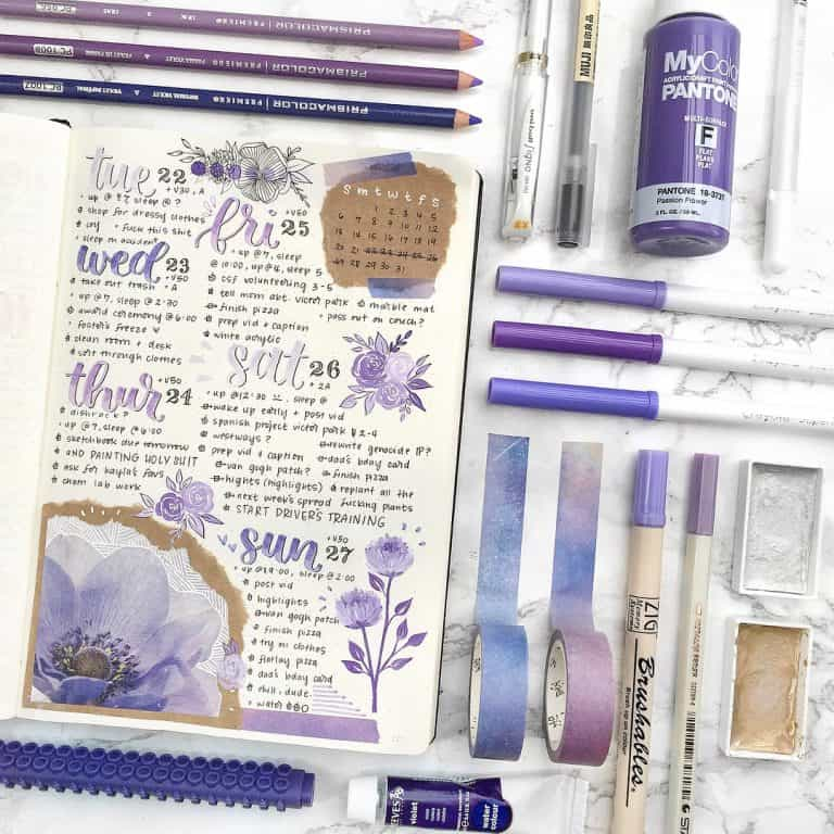 purple bullet journal layout