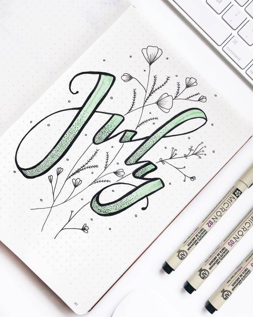 mint bullet journal layouts