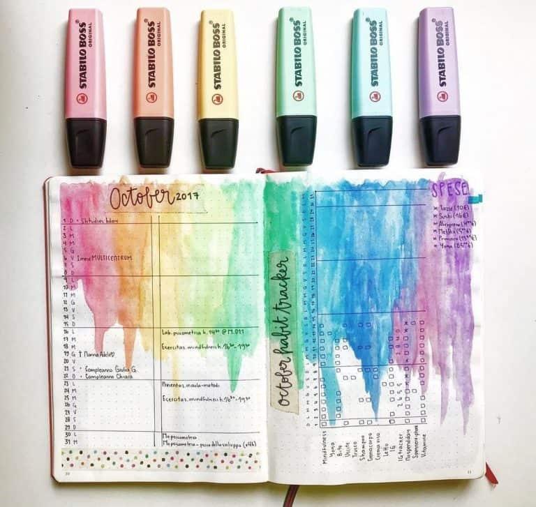 eye-popping rainbow theme bullet journal spreads