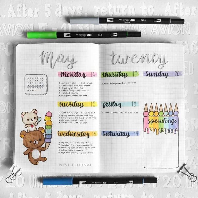 eye-popping rainbow theme bullet journal spreads