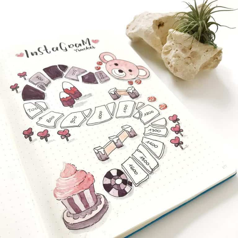 instagram tracker bullet journal spreads