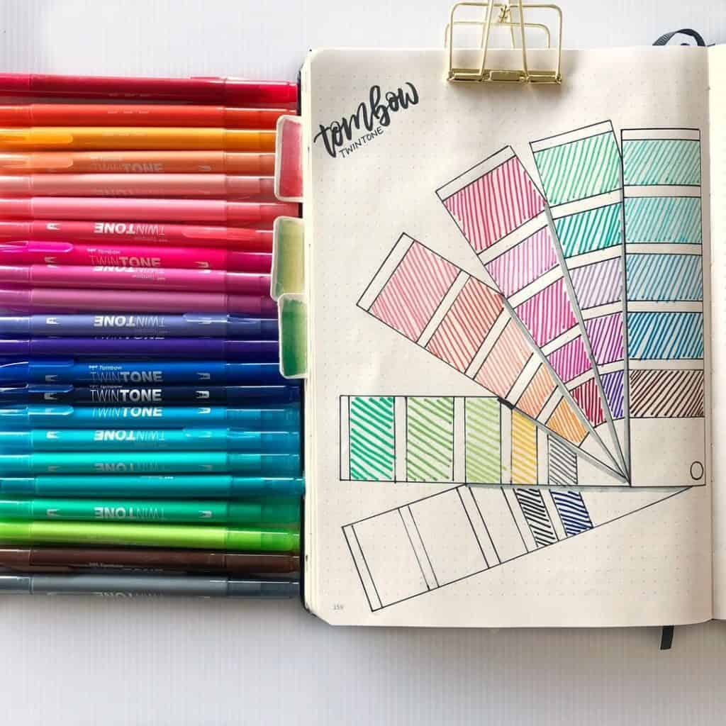 stationery swatch bullet journal layouts