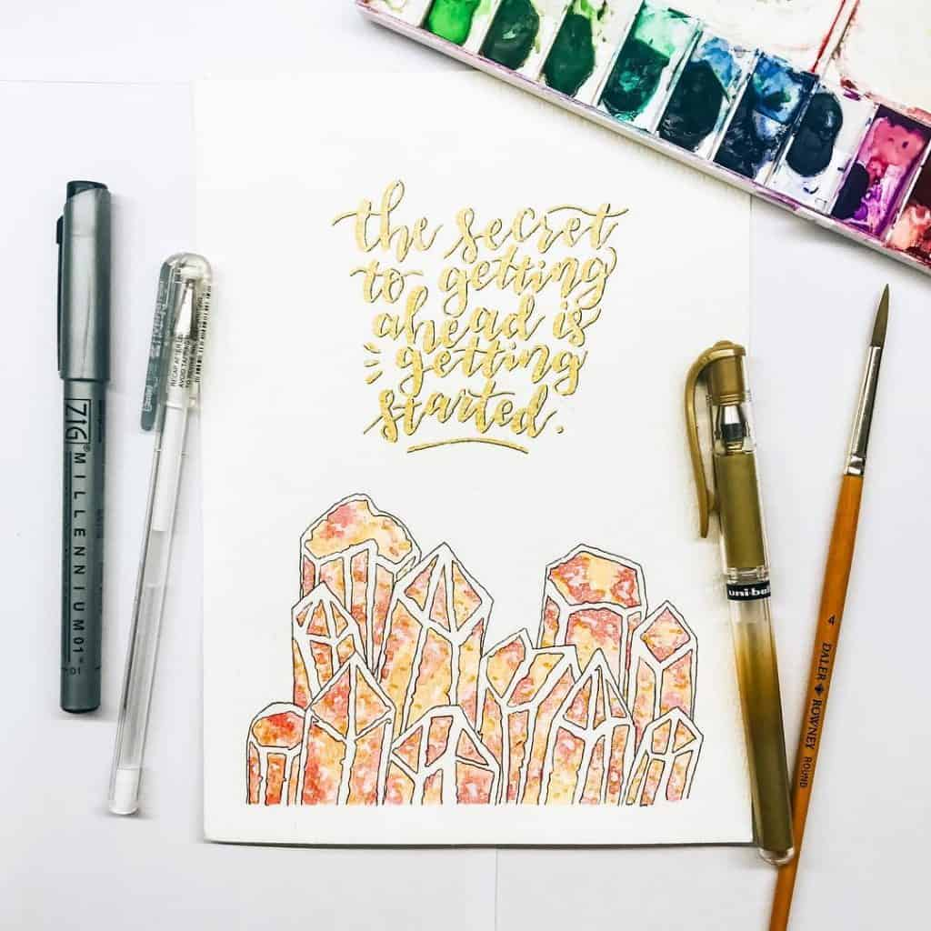 crystal inspired bullet journal spreads