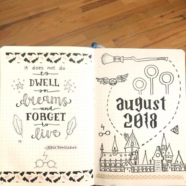 Harry Potter bullet journal layout