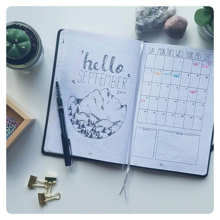 September bullet journal spreads and layouts
